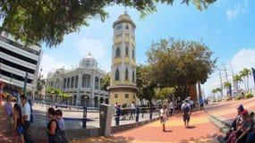 Opinión Torre del Reloj o Torre Morisca en el Malecon 2000 Esta torre fue inaugurada el 24 de mayo de 1934 Fotografía de archivo libre de regalías