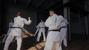 Opinión total o general estudiantes valientes mientras que realizan ataque agresivo con retrocesos de la pierna Práctica el Taekw almacen de video