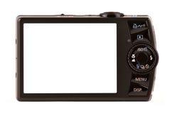 Opinión trasera de las cámaras digitales compactas aislada en blanco Imagen de archivo