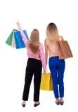 Opinión trasera dos mujeres con los panieres Imágenes de archivo libres de regalías