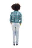 Opinión trasera el adolescente afroamericano aislada en blanco Foto de archivo libre de regalías