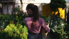 Opinión trasera el florista de sexo femenino que camina entre filas de diversas plantas en floristería o mercado y que lleva una  almacen de metraje de vídeo