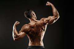Opinión trasera el hombre irreconocible, músculos fuertes que presentan con los brazos para arriba Imágenes de archivo libres de regalías