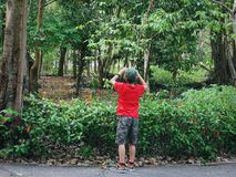 Opini?n trasera el muchacho con la ropa informal que toma las fotos del paisaje con la c?mara compacta foto de archivo libre de regalías