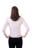Opinión trasera la mujer de negocios pensativa que comtempla, aislada en blanco. Fotografía de archivo libre de regalías