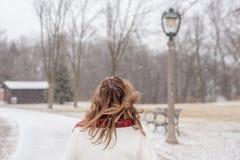 Opinión trasera la mujer que camina en parque de la ciudad con los copos de nieve mágicos imágenes de archivo libres de regalías