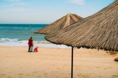 Opinión trasera una familia en una playa imágenes de archivo libres de regalías