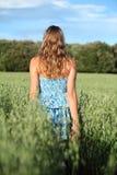 Opinión trasera una mujer que camina a través de un prado de la avena Fotos de archivo libres de regalías