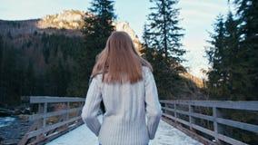 Opinión trasera una señora Walking en el camino y el puente con nieve en un bosque de las montañas almacen de video