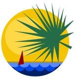 Opinión tropical de la salida del sol con la vela boat-2 Foto de archivo libre de regalías