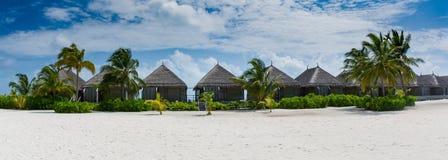 Opinión tropical del panorama de los bungalos con la arena y las palmeras blancas en Maldivas Imagenes de archivo