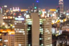 Opinión unfocused borrosa de la ciudad en la noche, Bangkok Tailandia imagen de archivo libre de regalías