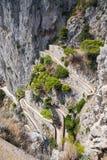 Opinión vía Krupp - trayectoria de la bobina en la isla de Capri fotografía de archivo libre de regalías