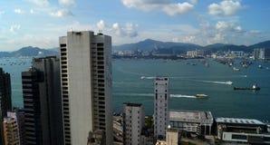 Opinión Victoria Bay Hong-Kong, China Foto de archivo libre de regalías