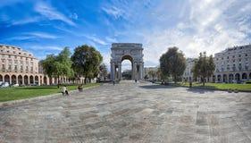 Opinión Victory Square, della Vittoria de la plaza en el centro de ciudad de Génova, Italia Fotos de archivo libres de regalías