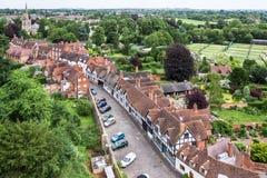 Opinión Warwick desde arriba de Warwick Castle Warwickshire, la O.N.U Imágenes de archivo libres de regalías