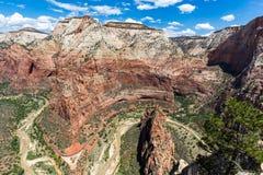 Opinión Zion National Park del top de aterrizaje de Angel's, Utah, los E.E.U.U. Foto de archivo libre de regalías