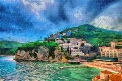 Opiniões bonitas do mar da pintura a óleo na cidade costeira Fotografia de Stock