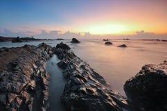 Opiniões bonitas do seascape durante o nascer do sol no mar chinês sul Imagem de Stock