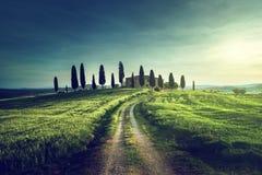 Opiniões clássicas de Tuscan no tempo do por do sol da mola, Pienza, Itália imagens de stock