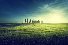 Opiniões clássicas de Tuscan no tempo do por do sol da mola, Pienza, Itália imagens de stock royalty free
