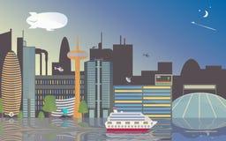 Opiniões da cidade da baixa O estádio, os arranha-céus e a torre da tevê refletiram no rio O navio está no porto Foto de Stock