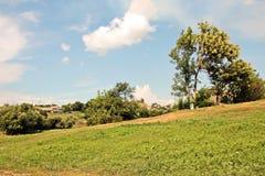 Opiniões da paisagem da natureza, dos campos, das vilas e das estradas de Ucrânia Vista da janela de carro ao conduzir foto de stock royalty free
