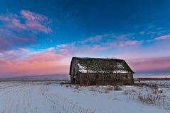 Opiniões da pradaria e celeiros rurais no inverno Imagens de Stock