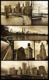 Opiniões de Manhattan no grunge Fotos de Stock Royalty Free