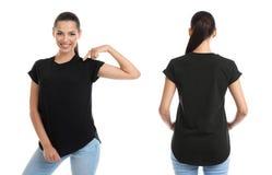 Opiniões dianteiras e traseiras a jovem mulher no t-shirt preto fotografia de stock royalty free