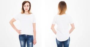 Opiniões dianteiras e traseiras a jovem mulher no tshirt à moda no fundo branco Zombaria acima para o projeto Copie o espaço mold fotografia de stock royalty free