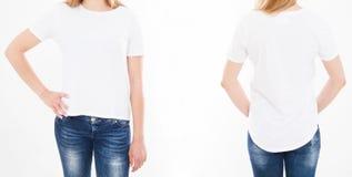 Opiniões dianteiras e traseiras a mulher bonita, menina no tshirt à moda sobre fotografia de stock
