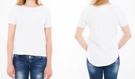 Opiniões dianteiras e traseiras a mulher bonita, menina no tshirt nos vagabundos brancos foto de stock