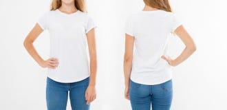 Opiniões dianteiras e traseiras a mulher caucasiano nova da menina no t-shirt à moda no fundo branco Zombaria acima para o projet imagens de stock royalty free