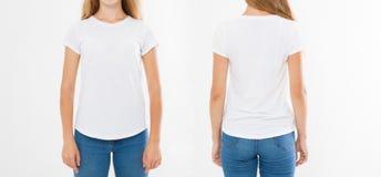 Opiniões dianteiras e traseiras a mulher caucasiano nova da menina no t-shirt à moda no fundo branco Zombaria acima para o projet fotos de stock