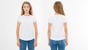 Opiniões dianteiras e traseiras a mulher caucasiano nova da menina no t-shirt à moda no fundo branco Zombaria acima para o projet imagem de stock royalty free