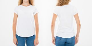 Opiniões dianteiras e traseiras a mulher caucasiano nova da menina no t-shirt à moda no fundo branco Zombaria acima para o projet fotografia de stock royalty free