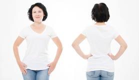Opiniões dianteiras e traseiras a mulher da Idade Média na camisa de t no fundo branco Colagem ou grupo Zombaria acima para o pro imagens de stock royalty free