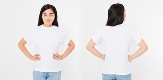 Opiniões dianteiras e traseiras a mulher japonesa asiática nova da menina no t-shirt à moda no fundo branco Zombaria acima para o fotografia de stock