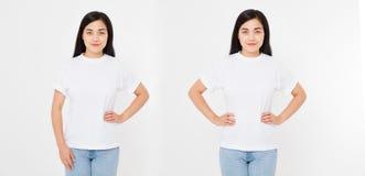 Opiniões dianteiras e traseiras a mulher japonesa asiática nova da menina no t-shirt à moda no fundo branco Zombaria acima para o imagens de stock royalty free