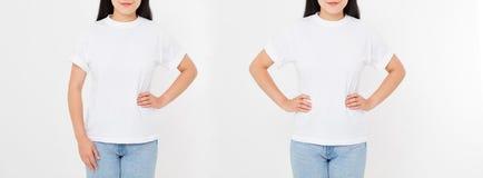 Opiniões dianteiras e traseiras a mulher japonesa asiática nova da menina no t-shirt à moda no fundo branco Zombaria acima para o foto de stock royalty free