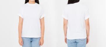 Opiniões dianteiras e traseiras a mulher japonesa asiática nova da menina no t-shirt à moda no fundo branco Zombaria acima para o fotografia de stock royalty free