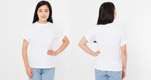 Opiniões dianteiras e traseiras a mulher japonesa asiática nova da menina nos estiletes imagem de stock royalty free