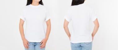 Opiniões dianteiras e traseiras a mulher japonesa asiática nova da menina nos estiletes imagem de stock