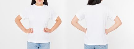 Opiniões dianteiras e traseiras a mulher japonesa asiática nova da menina nos estiletes foto de stock