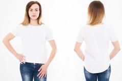 Opiniões dianteiras e traseiras a mulher 'sexy' nova no tshirt à moda foto de stock royalty free