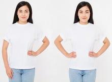 Opiniões dianteiras o asiático novo, mulher 'sexy' coreana no t-shirt à moda no fundo branco Zombaria acima para o projeto Copie  imagem de stock
