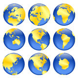 Opiniões douradas do globo Foto de Stock