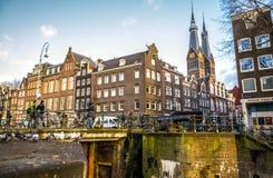 Opiniões gerais da paisagem na igreja holandesa tradicional Fotos de Stock Royalty Free