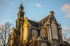Opiniões gerais da paisagem na igreja holandesa tradicional Imagem de Stock